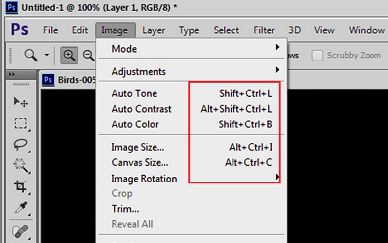 Photoshop - videata scorciatoie nei menu