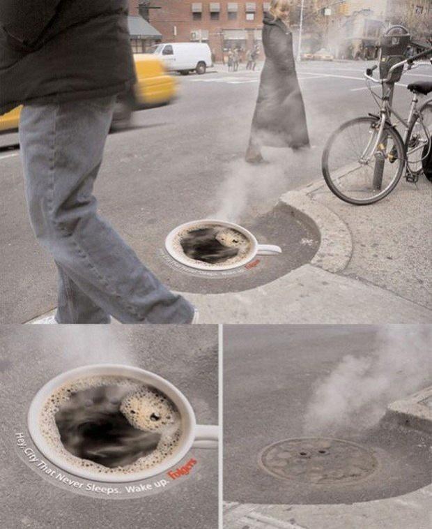 stampa calpestabile tazza caffe su tombino fumante