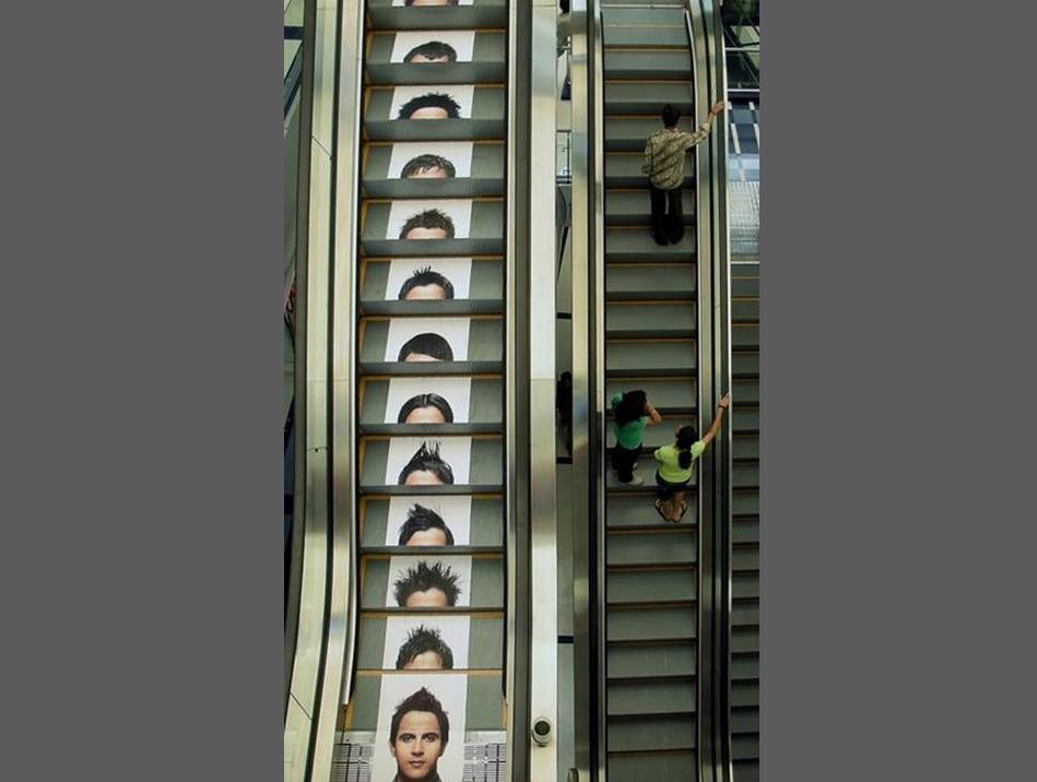 pubblicità calpestabile acconciature per uomo