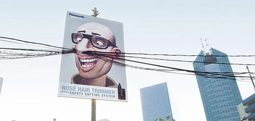 originale stampa pubblicitaria su trimmer per peli del naso