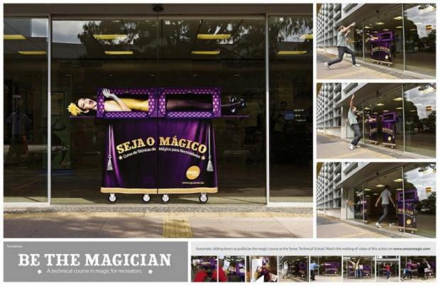 vetrofania magia su porta a vetri scorrevole