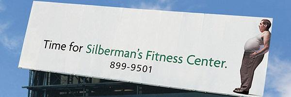 manifesto pendente pubblicità fitness con persona obesa
