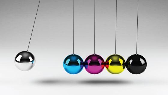 CMYK su gioco delle sfere di metallo