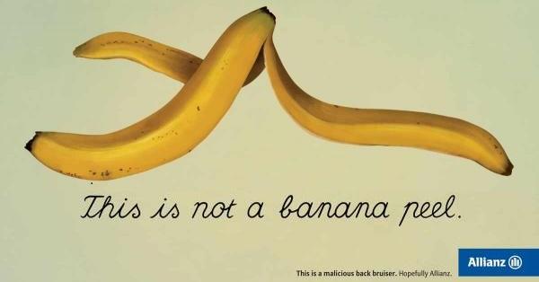 pubblicità allianz su opera magritte banana