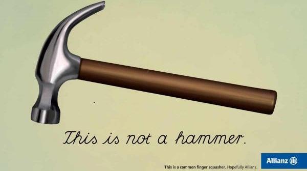 pubblicità allianz su opera magritte martello