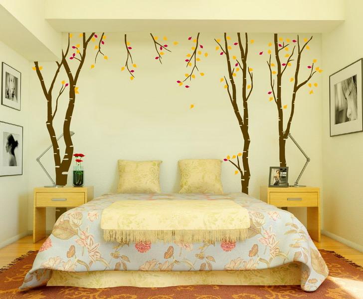 camera letto con stickers murali alberi