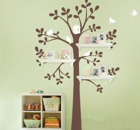 stickers murali albero con mensole nascoste