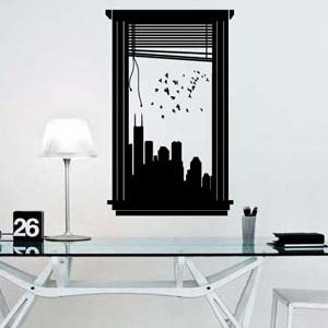 sticker murale finta finestra dietro scrivania