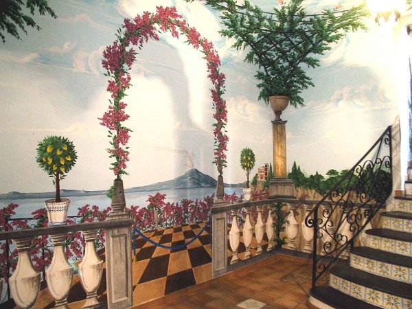 decorazione murale illusione tridimensionale
