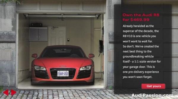 manifesto pubblicitario audi effetto 3d