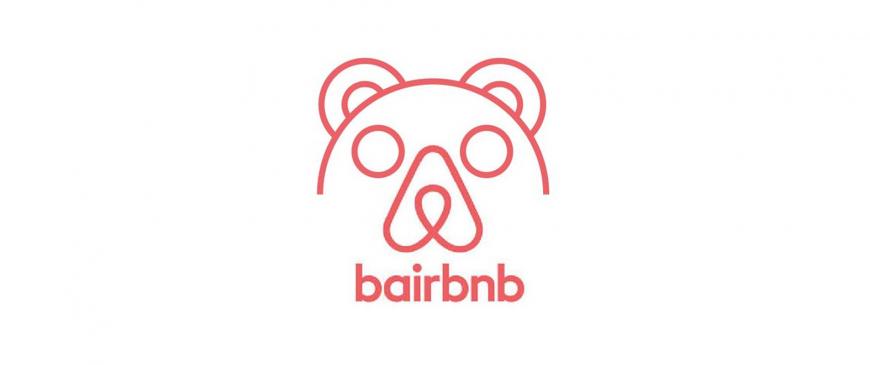 parodia del logo Airbnb