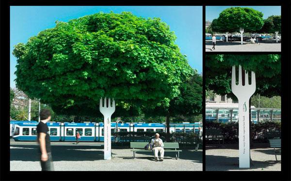 albero forchetta pubblicita ristorante