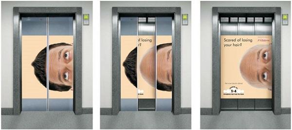 ascensore pubblicità sulla calvizie