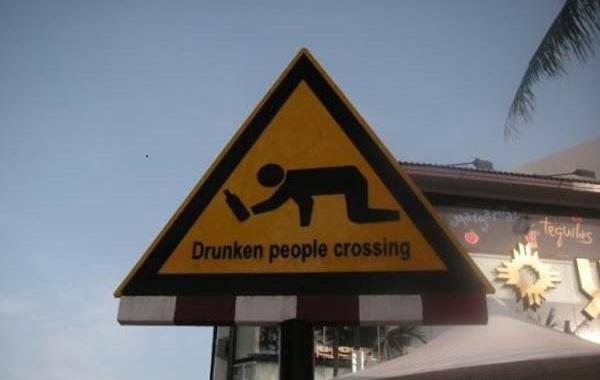 attraversamento pedonale di ubriachi
