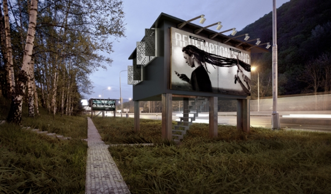 un abitazione con i manifesti pubblicitari stradali