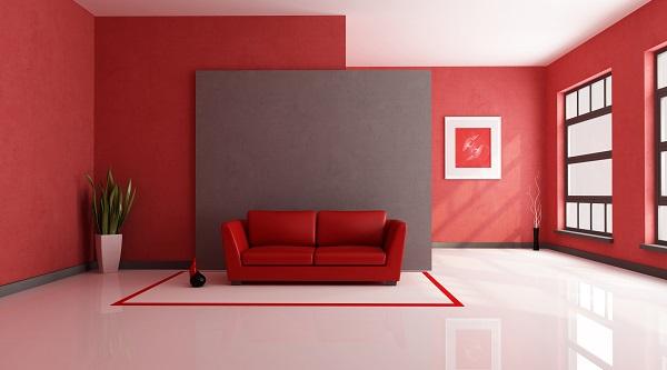 interior design salotto rosso