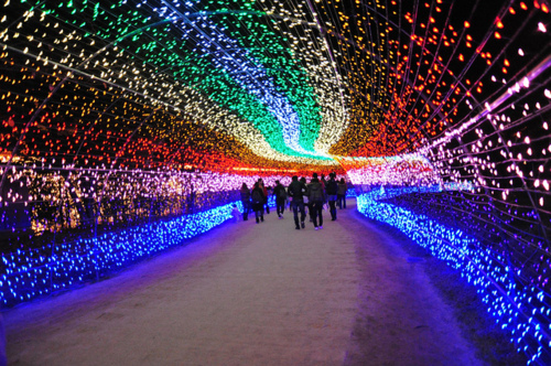 Christmas colours corridoio luci colorate
