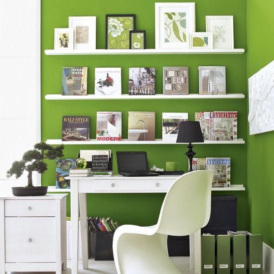 idea arredo studio parete verde