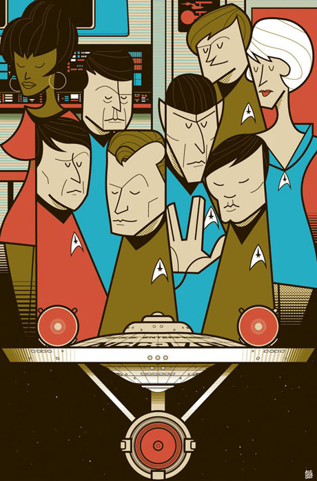 star trek cartoon poster