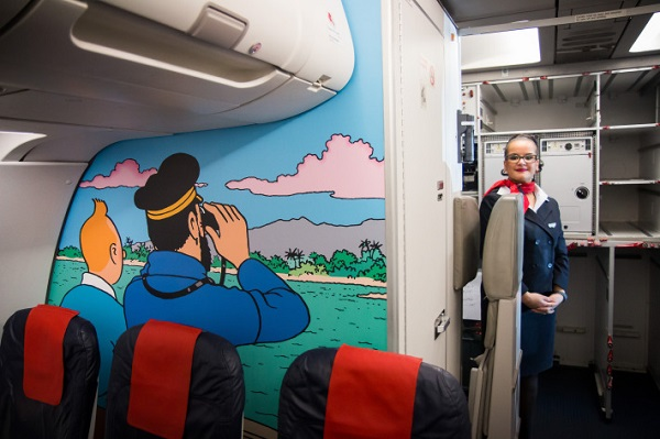 brussels airlines decorazione tintin