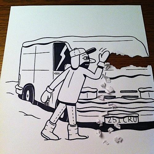 danimarca arte su carta neve su furgone