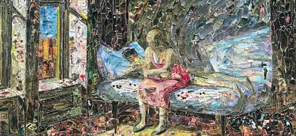 dipinti famosi ricreati con pezzi di carta