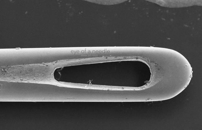 nanoscultura su cruna di un ago