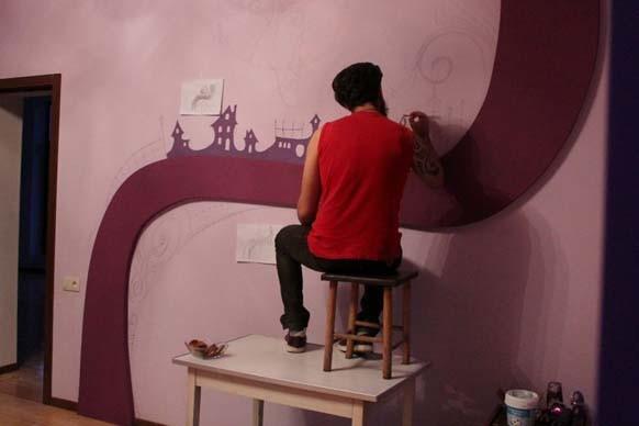 murales gatti notturni
