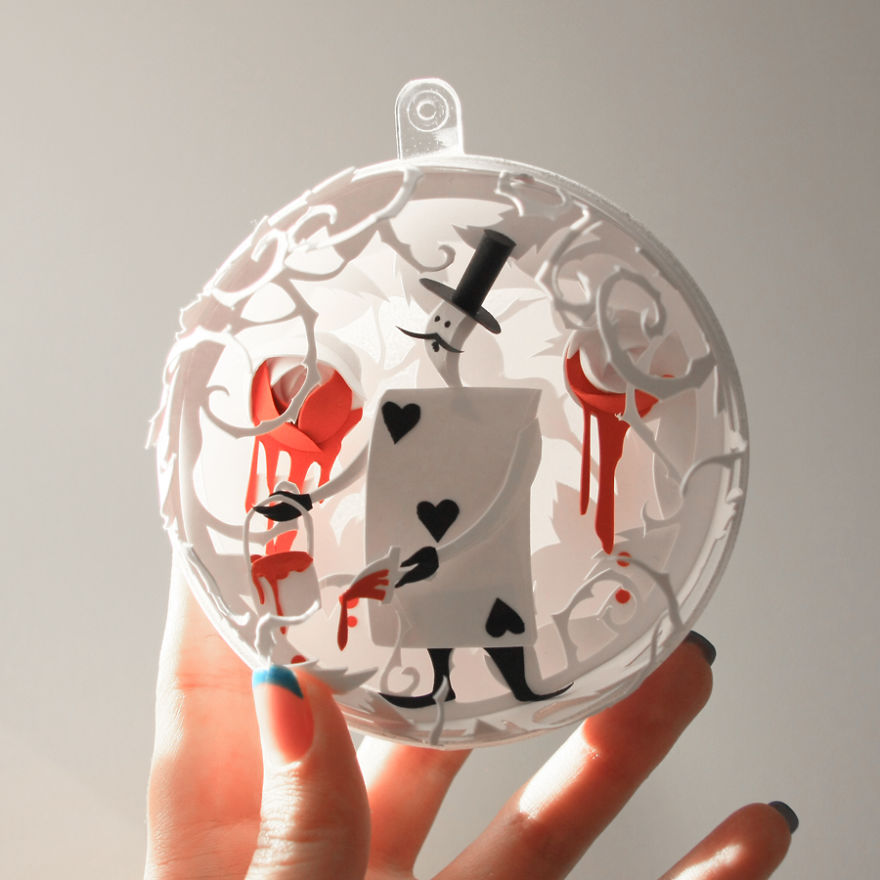 decorazioni natalizie carta alice paese meraviglie