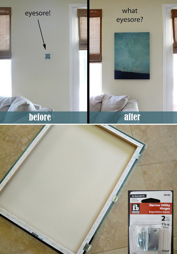 hide-a-thermostat-or-home-alarm-with-a-canvas-on-hinges.
